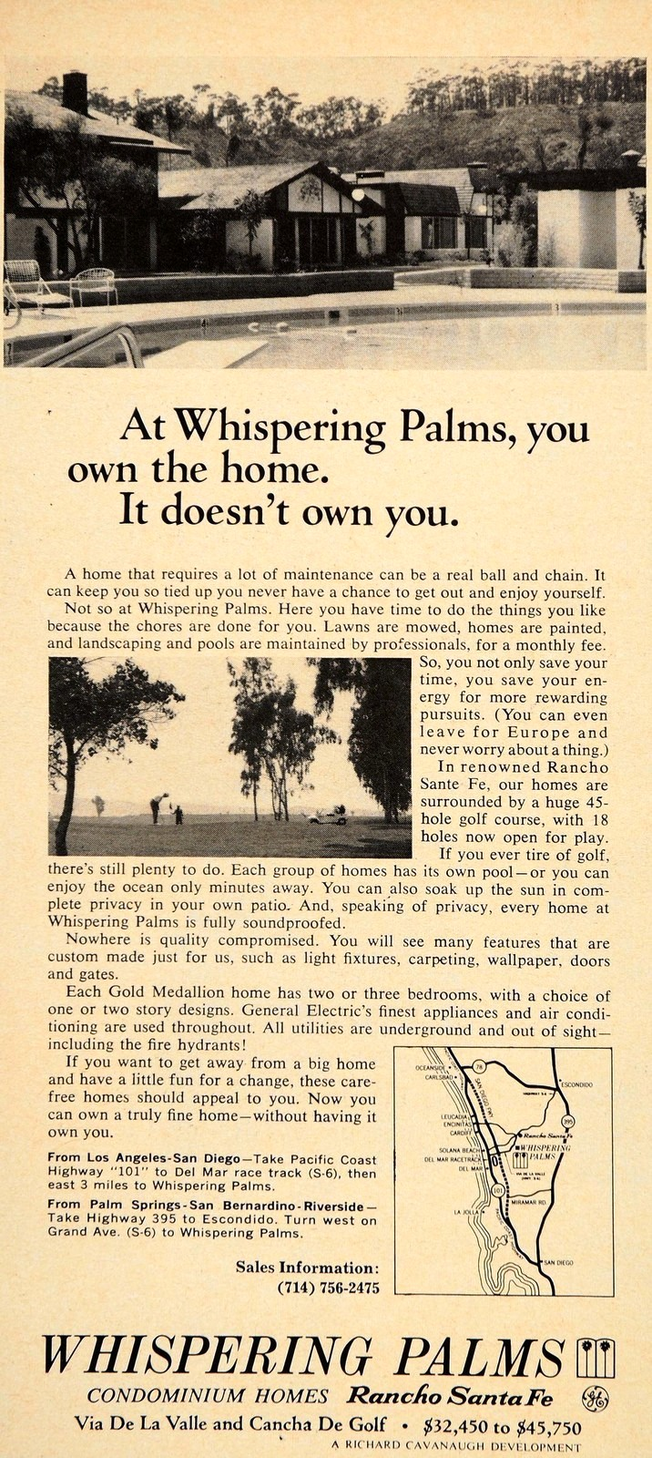 Original advertisement for Whispering Palms.