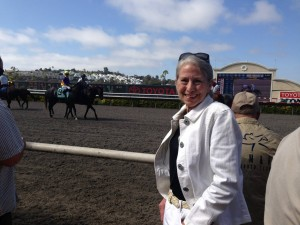 Gail Morris At The Finish Line Before Her Horse Rock Me Baby Wins The California Dreamin Stakes at Del Mar