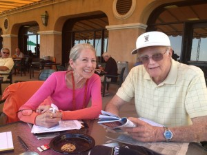 Gail Morris and Rosy Rosendale handicapping at Del Mar.