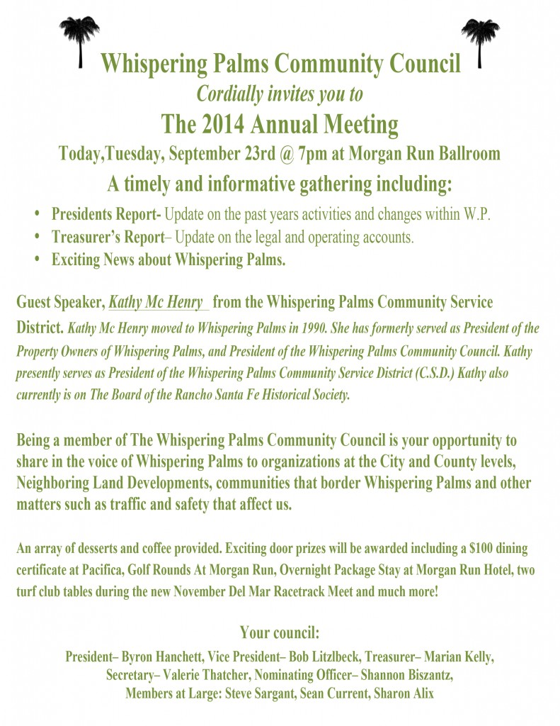 Whispering Palms Community Council Annual Meeting Tonight
